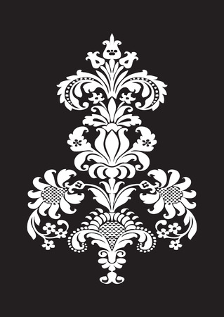 Vector stylized floral design element with white flower and lush bloom, decorated in ethnic ornament. Isolated on black background for invitations, greeting cards, web page, pattern fills, or textile Illustration