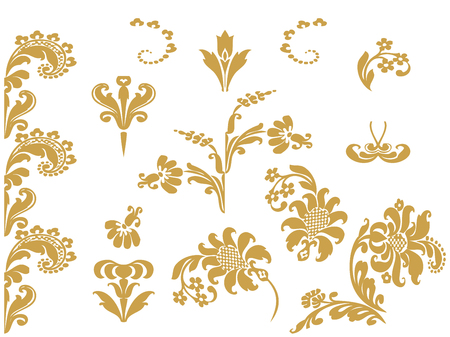 lush: Vector set floral design elements with gold flowers and lush bloom, decorated in ethnic ornament. Isolated on white background for invitations, greeting cards, web page, pattern fills, or textile