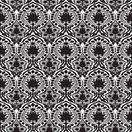 antiquated: Vector seamless floral pattern vintage background black and white