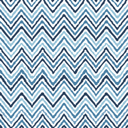 blue stripes: Hand drawing zigzag geometrical ethnic pattern seamless colorful vector Illustration