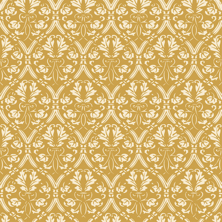 gold leafs: Seamless floral damask background gold vector Illustration