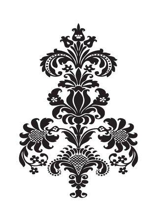 lush: Vector stylized floral design element with black flower and lush bloom