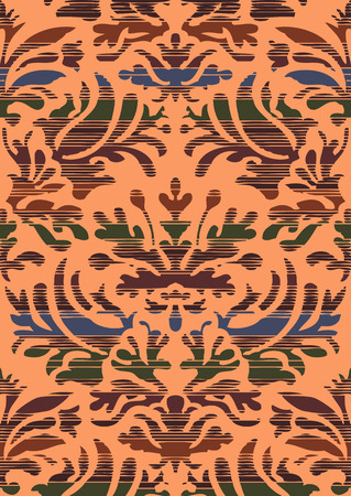 greeting stylized: Hand drawn seamless stylized foliage striped damask background vector for invitations, greeting cards, web page, pattern fills, or textile. Coral and brown color