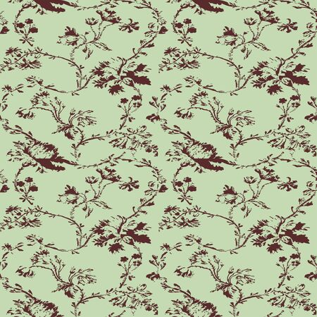 bue: Vintage floral seamless pattern with hand drawn poppies background vector Illustration