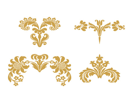 lush: Vector set floral design elements with gold flowers and lush bloom