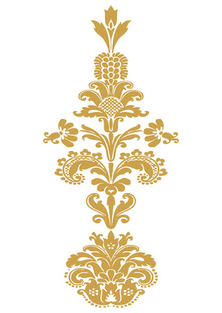 Vector stylized floral design element with gold flower and lush bloom