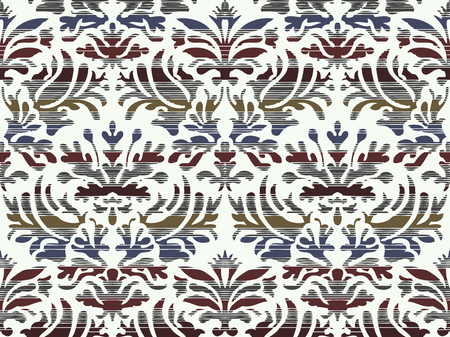 greeting stylized: Hand drawn seamless stylized foliage striped damask background vector for invitations, greeting cards, web page, pattern fills, or textile. Blue and brown color