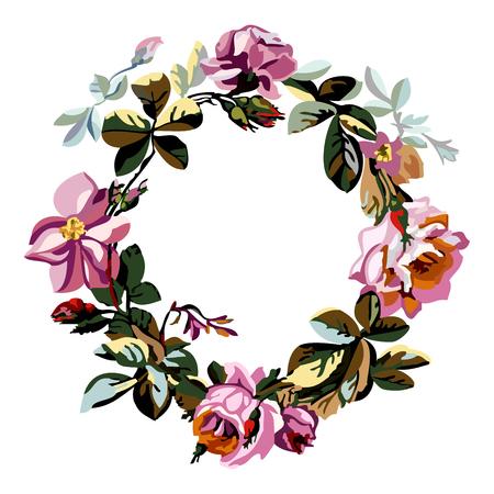 marcos redondos: Vector ilustración colorida de una hermosa ofrenda floral con rosas y fondo blanco central de su texto. Vector dibujado a mano de flores croquis de corona de flores con rosas
