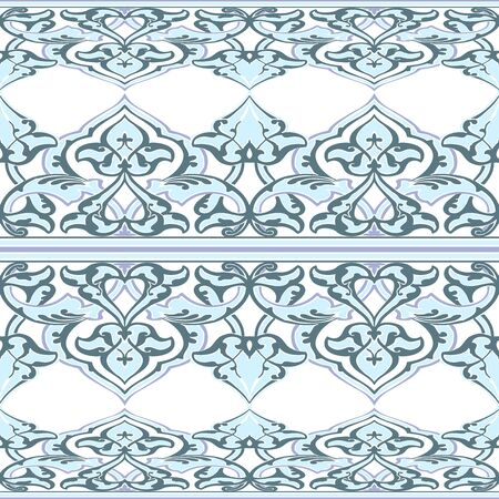 vintagel: Vector ornate seamless floral pattern in Eastern style. Ornamental vintage pattern for wedding invitations, birthday and greeting cards. Traditional vintagel decor light blue and white colors.