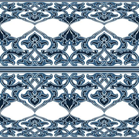 vintagel: Vector ornate seamless floral pattern in Eastern style. Ornamental vintage pattern for wedding invitations, birthday and greeting cards. Traditional vintagel decor blue and white colors.