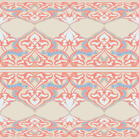 vintagel: Vector ornate seamless floral pattern in Eastern style. Ornamental vintage pattern for wedding invitations, birthday and greeting cards. Traditional vintagel decor light red and beige colors.