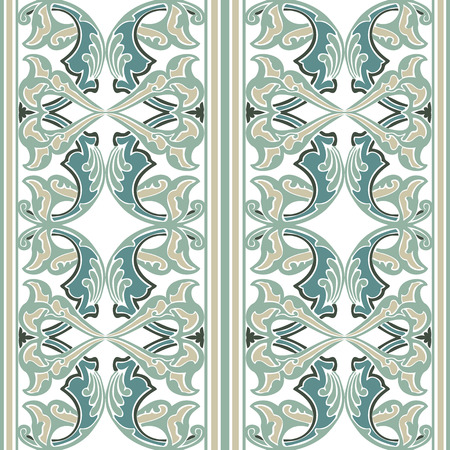 vintagel: Vector ornate seamless floral pattern in Eastern style. Ornamental vintage pattern for wedding invitations, birthday and greeting cards. Traditional vintagel decor light blue ana white colors. Illustration