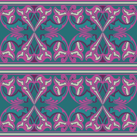 vintagel: Vector ornate seamless floral pattern in Eastern style. Ornamental vintage pattern for wedding invitations, birthday and greeting cards. Traditional vintagel decor violet  and blue colors. Illustration