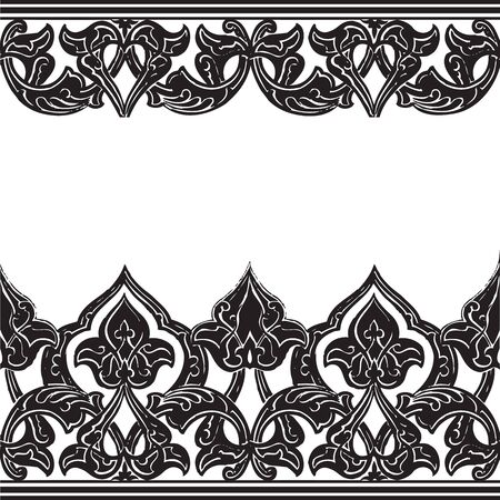 blak and white: Vector illustration of ornamental seamless border (Arabic style) black and white colors Illustration