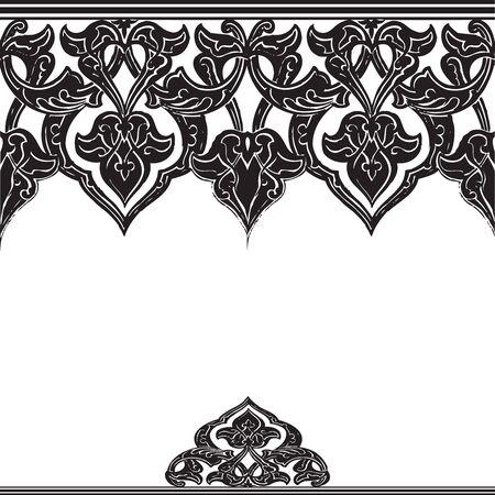 Vector illustration of ornamental seamless border (Arabic style) black and white colors Illustration