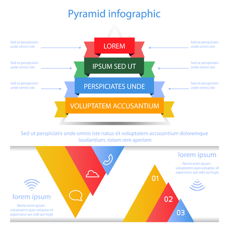 rainbow slide: Business pyramid infographic template design on white background vector