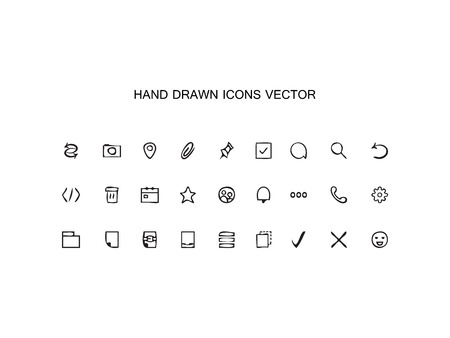 staples: Abstract vector Hand drawn outline web icons set – Office on white background