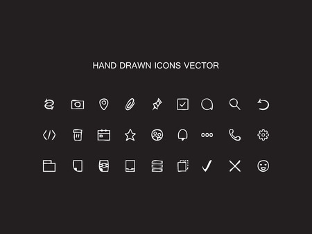 staples: Abstract vector Hand drawn outline web icons set � Office on black background