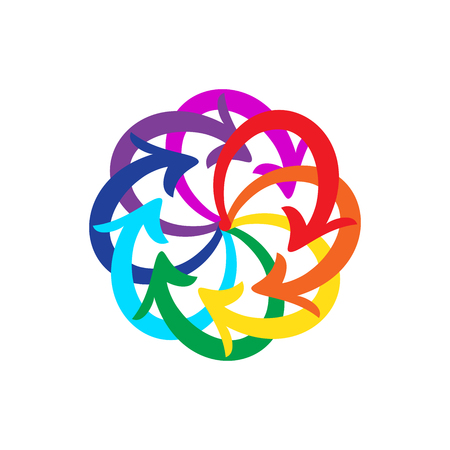 lifecycle: Vector rainbow colors arrows circle diagram on white background