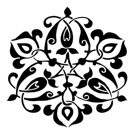 Ornamental round flower silhouette pattern, circle lace flower isolated background, lacy arabesque designs. Orient traditional ornament. Oriental motif. Can be used for postcard, invitations, textile, for wallpaper, and design element