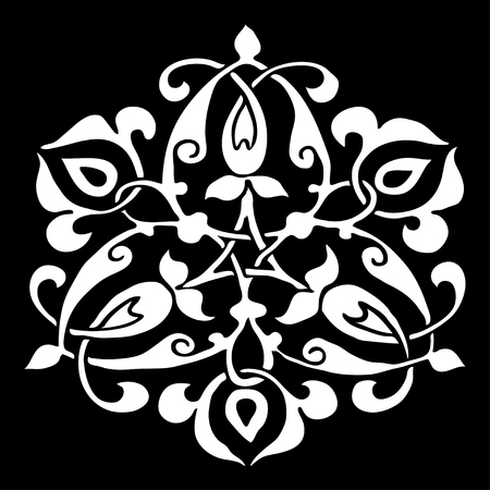 delicate arabic motif: Ornamental round flower silhouette pattern, circle lace flower isolated background, lacy arabesque designs. Orient traditional ornament. Oriental motif. Can be used for postcard, invitations, textile, for wallpaper, and design element