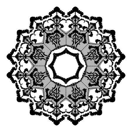 lace like: Vector round lace flower vintage, circle background with many details, looks like crocheting handmade lace, lacy arabesque designs. Orient traditional ornament. Oriental motif Illustration
