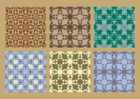 pastel backgrounds: Colorful pastel set of seamless floral patterns vintage backgrounds collection vector