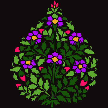 darck: Vector color illustration symmetric flourishes plant with flowers and leaf on darck background