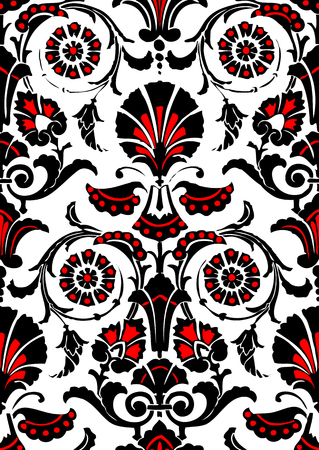 black damask: Seamless abstract hand-drawn floral pattern, vintage background.