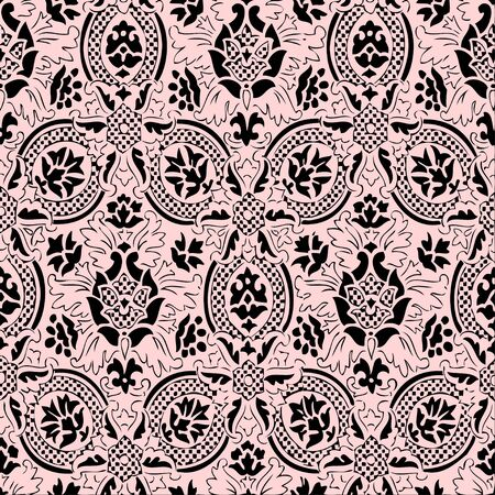 pink floral: Pink and black lace Seamless abstract hand-drawn floral pattern, vintage background.  Illustration