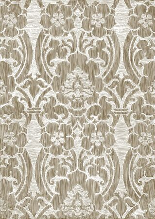 decorative wallpaper: Brown and white abstract striped floral pattern, vintage background. Illustration