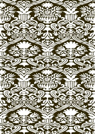 Khaki and white Seamless abstract hand-drawn floral pattern, vintage background.