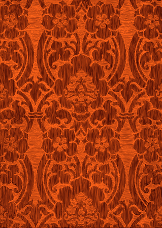 Orange and brown abstract striped floral pattern, vintage background. Seamless pattern can be used for wallpaper, pattern fills, web page background, surface textures, packaging, and invitations Illustration