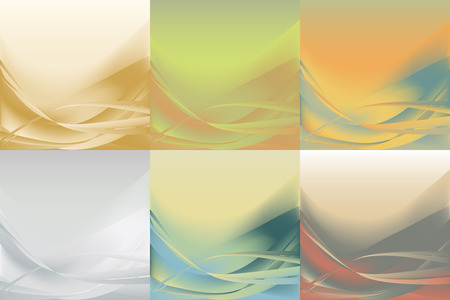 pastel backgrounds: Set of wavy abstract backgrounds horizontal of different colors pastel Illustration