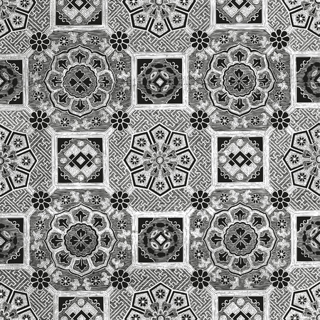 seamless tile: Abstract floral mosaic tile vintage ornament seamless