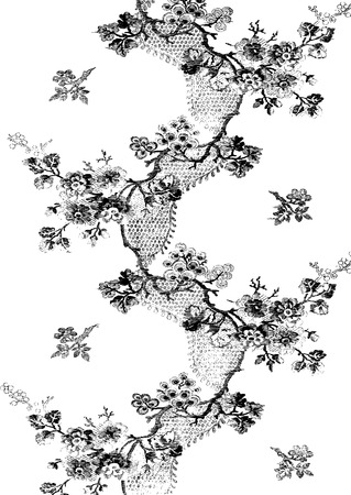 apple blossom: Black and white zigzag vertical vintage floral pattern with apple blossom branches, decorated with a ribbon on a white background for invitations, greeting cards, web page, pattern fills, or textile Illustration