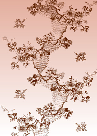 apple blossom: Zigzag vertical vintage floral pattern with hand drawn apple blossom branches, decorated with a ribbon on a pink background for invitations, greeting cards, web page, pattern fills, or textile