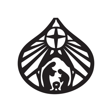 holy: Holy family Christian silhouette icon illustration on white background. Scene of the Holy Bible