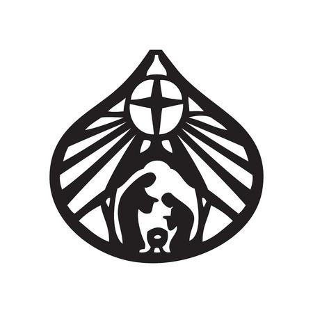 nascita di gesu: Santa famiglia cristiana silhouette icona su sfondo bianco. Scena della Sacra Bibbia Vettoriali