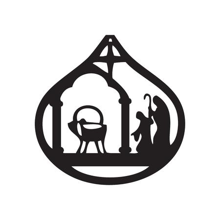 Aanbidding der Wijzen illustratie silhouet pictogram op zwarte achtergrond. Scène van de Bijbel