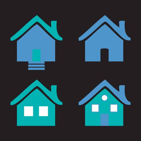 homes: Colorful flat icons Homes isolated illustration on black background