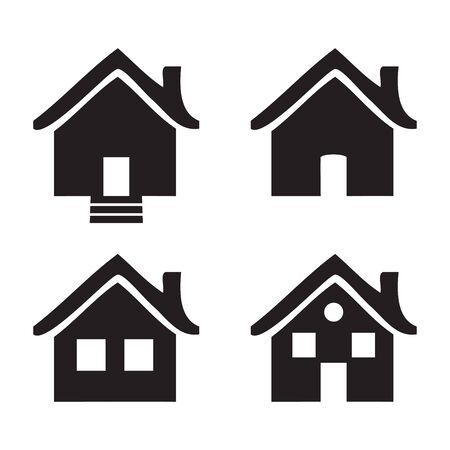 homes: Black and white flat icons Homes isolated illustration