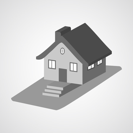 clipart chimney: Monochrome 3d house cartoon icons isolated illustration