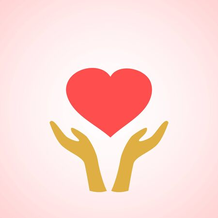 protection hands: Stylized red heart on hands  icons on white background