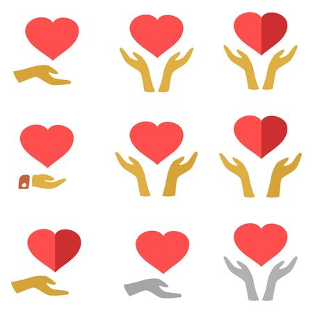 protection hands: Stylized red heart on hands man and woman, icons set on white background