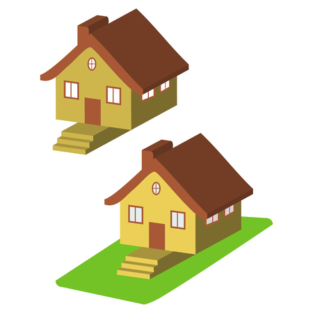 clipart chimney: Colorful 3d house cartoon icons isolated illustration Illustration