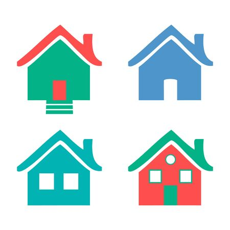 homes: Colorful flat icons Homes isolated illustration
