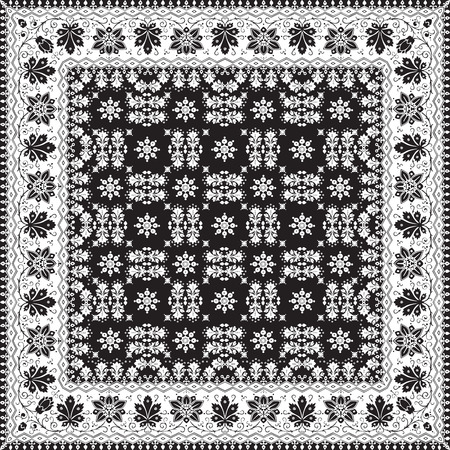 black floor: Vector abstract ethnic shawl floral pattern design for background or wallpaper. Black and white colors Illustration