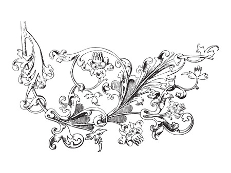 vegetal: Hand drawn illustration of twig with flowers and leaves Baroque vector. Whimsical flowers. Vegetal ornament for coloring book. Black and white colors Illustration