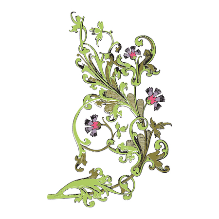 vegetal: Hand drawn illustration of twig with flowers and leaves Baroque vector. Cornflowers. Colorful Vegetal ornament vertical on white background Illustration